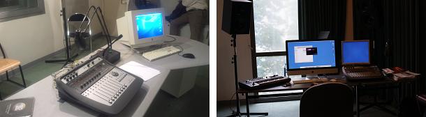 (左)CNSMで一番大きいスタジオです。(右)電子音楽スタジオ。スペックが低いので頻繁にフリーズします。